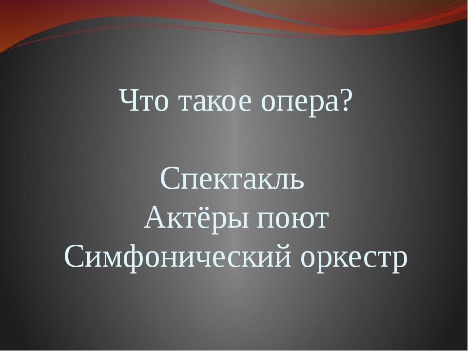 Что такое опера? Спектакль Актёры поют Симфонический оркестр