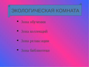 ЭКОЛОГИЧЕСКАЯ КОМНАТА Зона обучения Зона коллекций Зона релаксации Зона библ