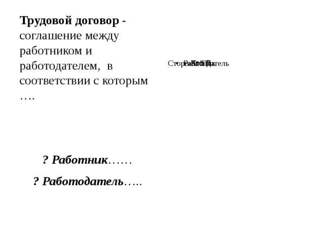 Трудовой договор - соглашение между работником и работодателем, в соответств...