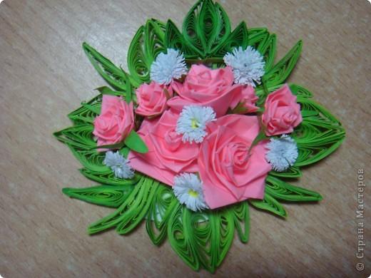 Поделка, изделие Квиллинг: Букет роз Бумага. Фото 1