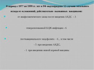 В период с 1977 по 1999 гг. лет в РФ подтверждено 12 случаев летального исхо