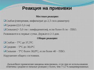 Реакция на прививки Местная реакция: Слабая (гиперемия, инфильтрат до 2,5 см