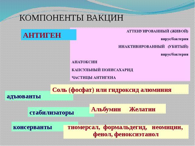 КОМПОНЕНТЫ ВАКЦИН АТТЕНУИРОВАННЫЙ (ЖИВОЙ) вирус/бактерия ИНАКТИВИРОВАННЫЙ (УБ...