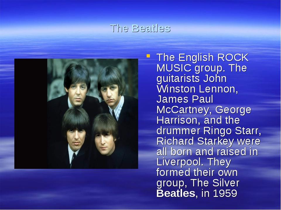 The Beatles The English ROCK MUSIC group. The guitarists John Winston Lennon,...