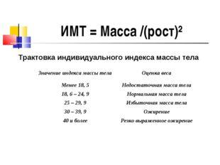 ИМТ = Масса /(рост)² Трактовка индивидуального индекса массы тела Значение ин