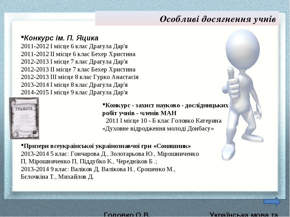 Особливі досягнення учнів Конкурс ім. П. Яцика 2011-2012 І місце 6 клас Драгу...