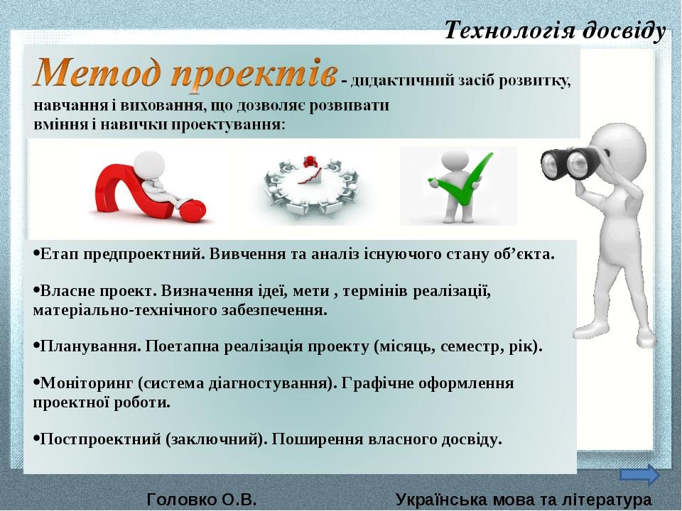 Технологія досвіду Головко О.В. Українська мова та література
