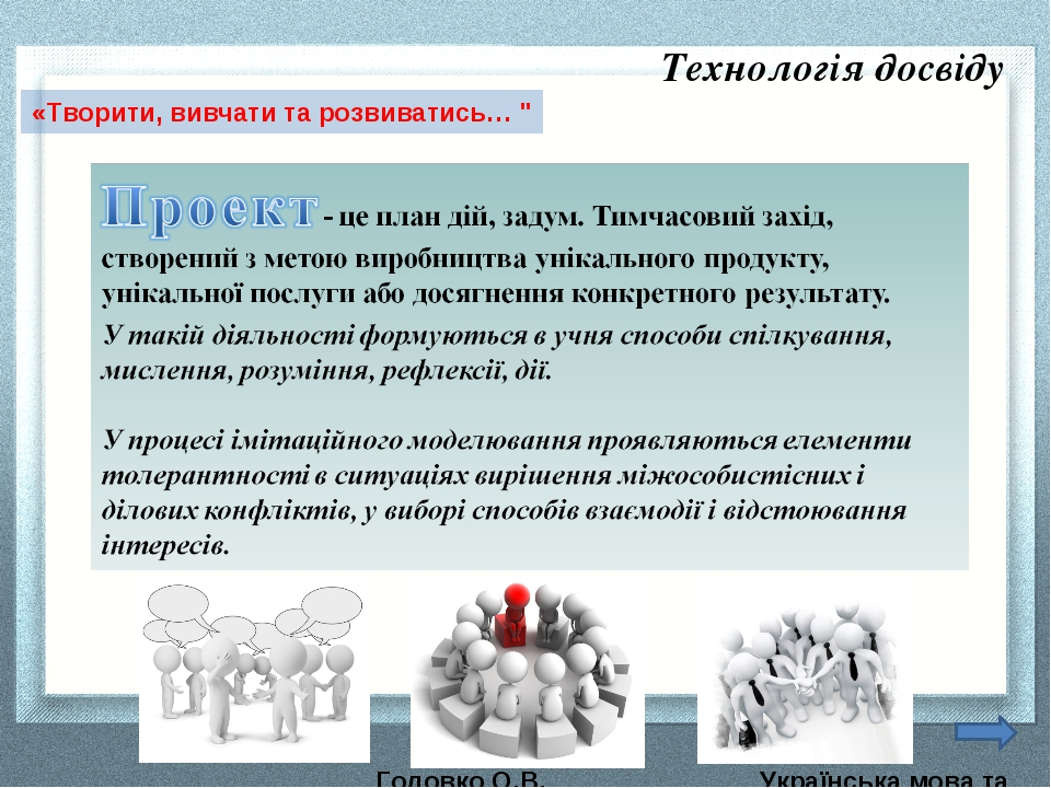 Головко О.В. Українська мова та література «Творити, вивчати та розвиватись…...