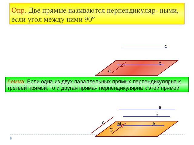 Опр. Две прямые называются перпендикуляр- ными, если угол между ними 90º a b...