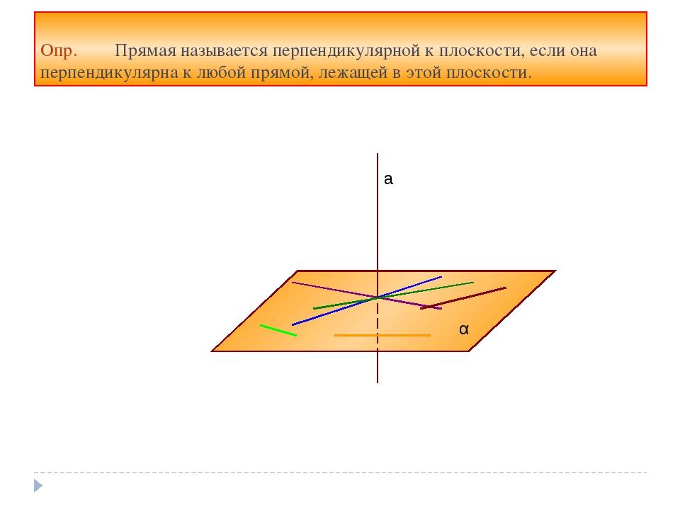 Опр. Прямая называется перпендикулярной к плоскости, если она перпендикулярна...