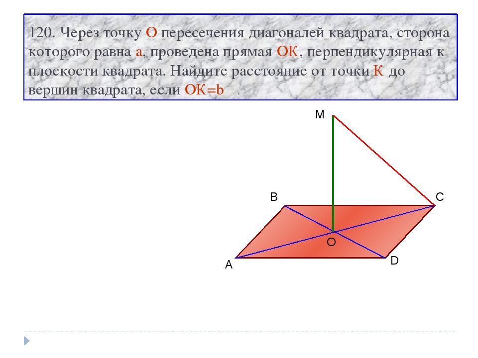 120. Через точку О пересечения диагоналей квадрата, сторона которого равна a,...