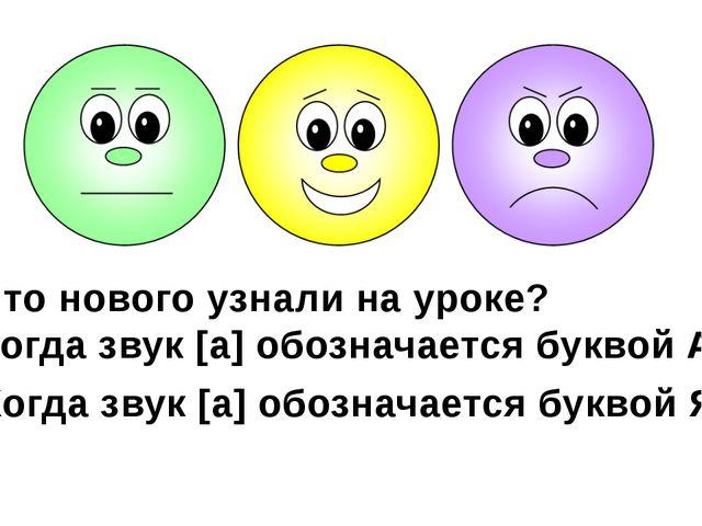 Что нового узнали на уроке? Когда звук [а] обозначается буквой А? Когда звук...