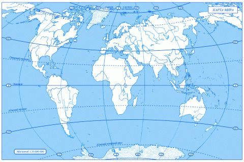 Карта мира контур с границами государств