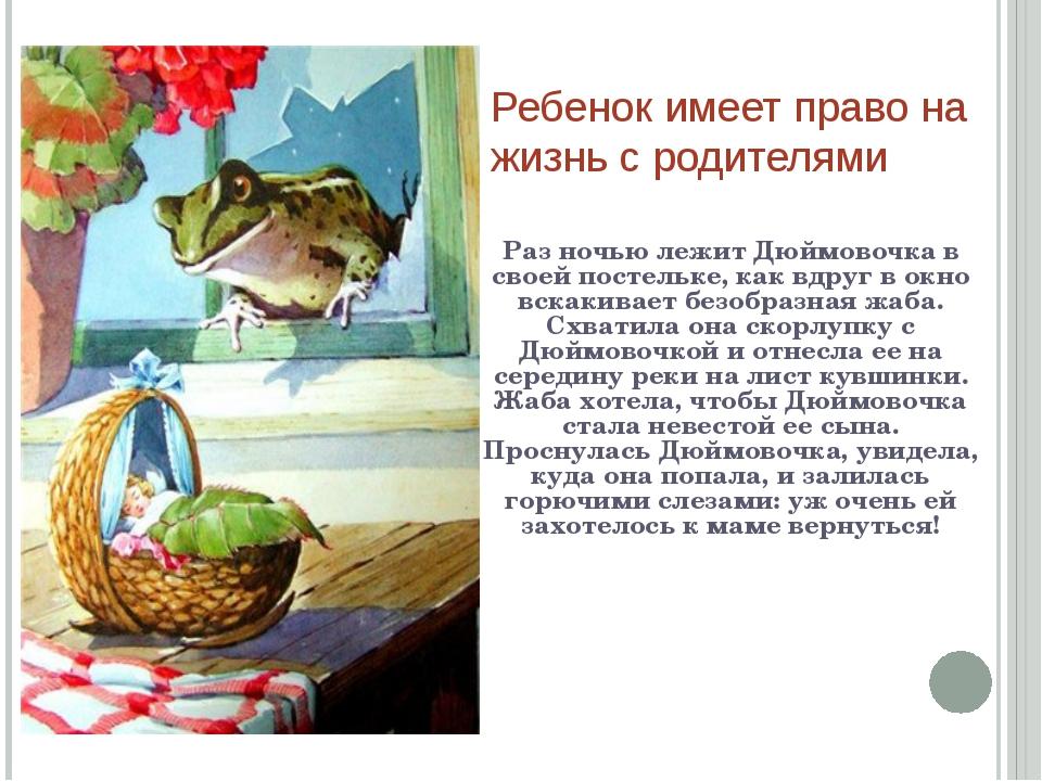 Ребенок имеет право на жизнь с родителями Раз ночью лежит Дюймовочка в своей...