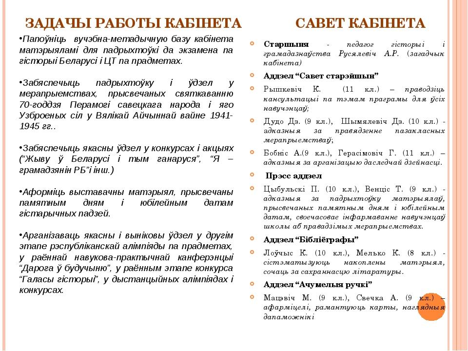 ЗАДАЧЫ РАБОТЫ КАБІНЕТА Старшыня - педагог гісторыі і грамадазнаўства Русялеві...