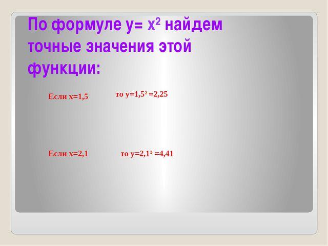 По формуле у= х² найдем точные значения этой функции: Если х=1,5 Если х=2,1 т...