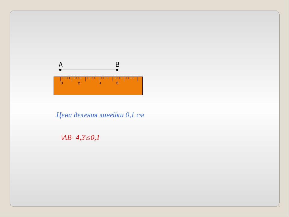 0 2 4 6 А В Цена деления линейки 0,1 см \АВ- 4,3\≤0,1