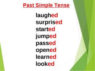 Past Simple Tense laughed surprised started jumped passed opened learned looked