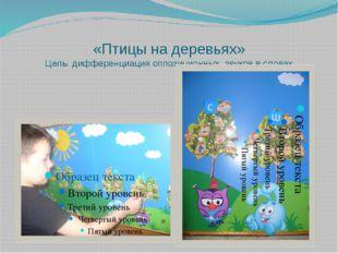 «Птицы на деревьях» Цель: дифференциация оппозиционных звуков в словах