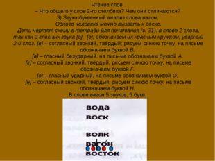 Чтение слов. – Что общего у слов 2-го столбика? Чем они отличаются? 3) Звуко-