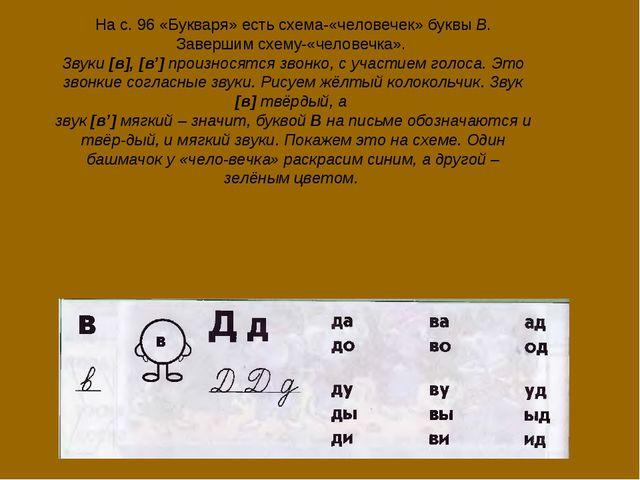 На с. 96 «Букваря» есть схема-«человечек» буквы В. Завершим схему-«человечка»...