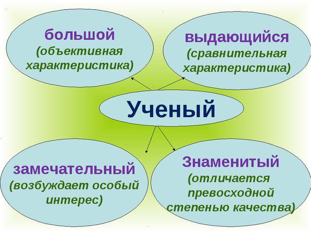 Ученый большой (объективная характеристика) выдающийся (сравнительная характе...