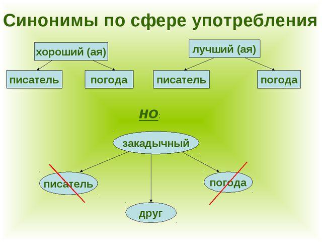 Синонимы по сфере употребления хороший (ая) писатель погода лучший (ая) писат...