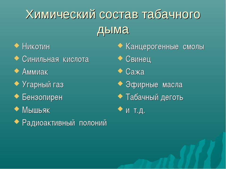 Химический состав табачного дыма Никотин Синильная кислота Аммиак Угарный газ...
