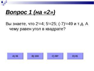 Вопрос 1 (на «2») Вы знаете, что 22=4; 52=25; (-7)2=49 и т.д. А чему равен уг
