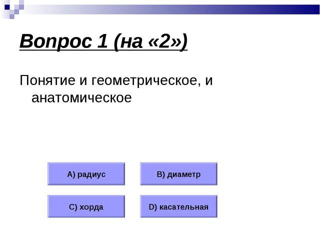 Вопрос 1 (на «2») Понятие и геометрическое, и анатомическое А) радиус В) диам...