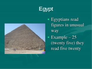 Egypt Egyptians read figures in unusual way Example – 25 (twenty five) they r