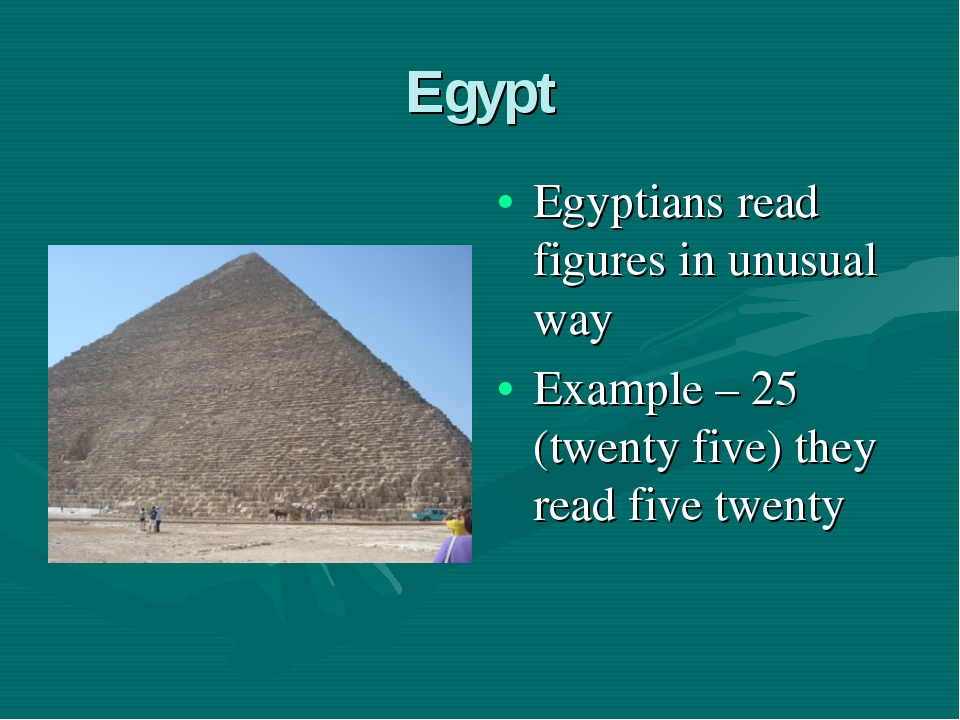 Egypt Egyptians read figures in unusual way Example – 25 (twenty five) they r...