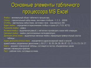 Основные элементы табличного процессора MS Excel Ячейка – минимальный объект
