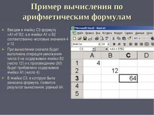 Пример вычисления по арифметическим формулам Введем в ячейку С3 формулу =А1+5
