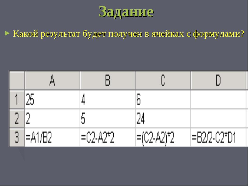 Задание Какой результат будет получен в ячейках с формулами?