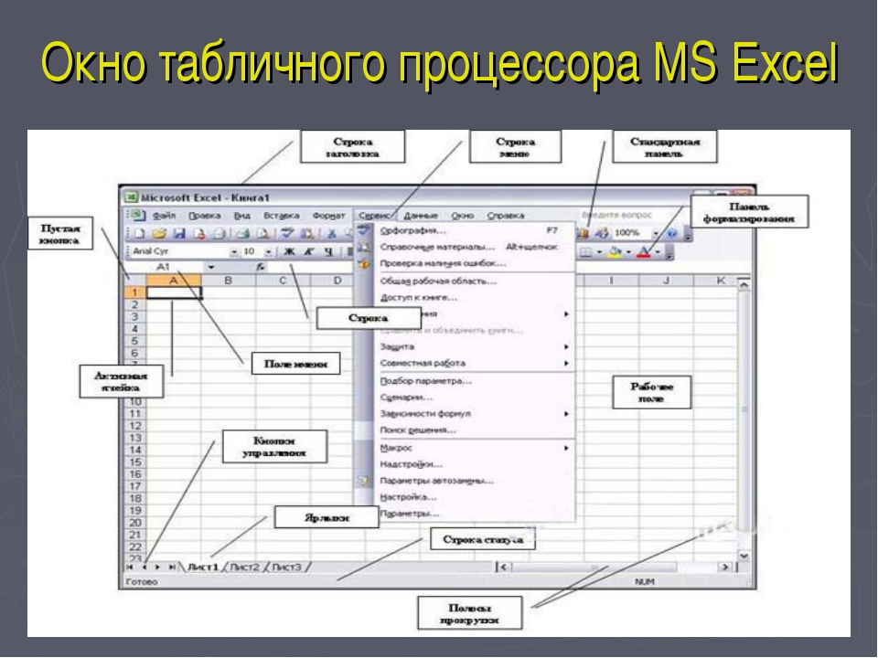Окно табличного процессора MS Excel