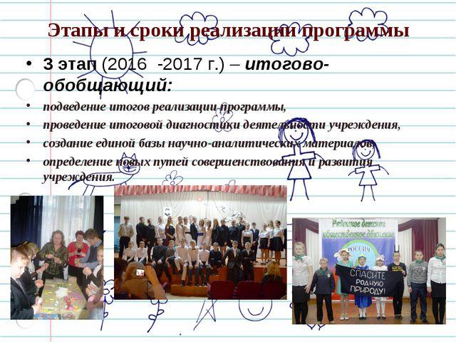 Этапы и сроки реализации программы 3 этап (2016 -2017 г.) – итогово-обобщающи...