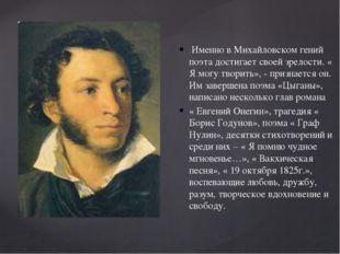 Именно в Михайловском гений поэта достигает своей зрелости. « Я могу творить