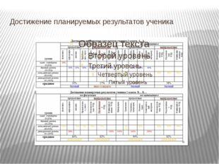 Достижение планируемых результатов ученика