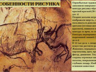 ОСОБЕННОСТИ РИСУНКА Первобытные художники заполняли поверхность внутри конту