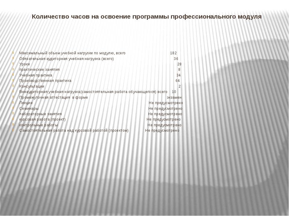 Количество часов на освоение программы профессионального модуля Максимальный...