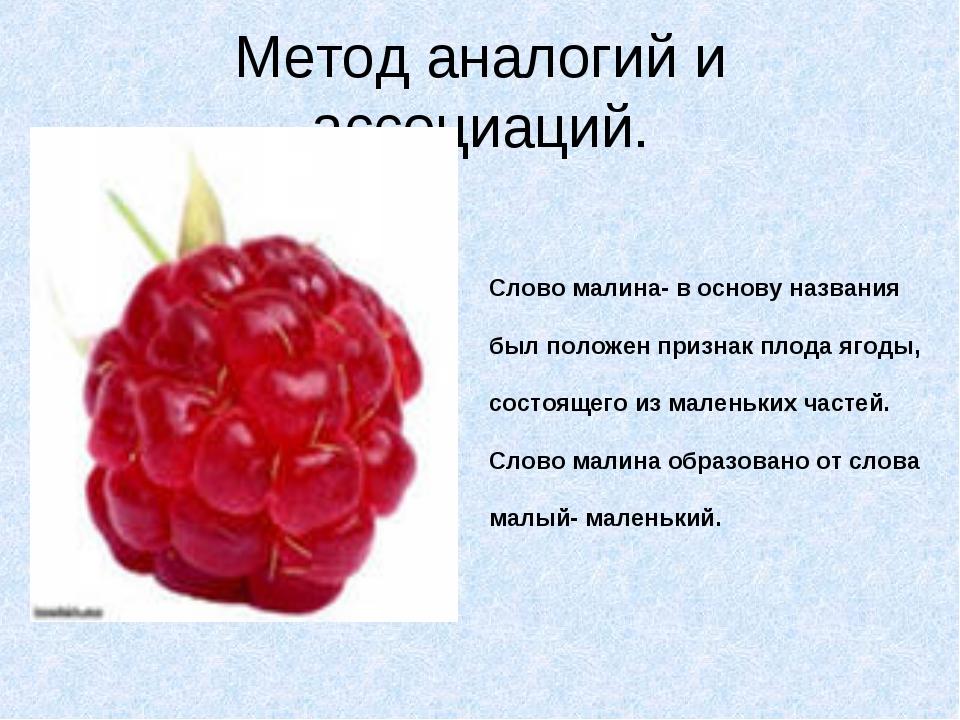 Метод аналогий и ассоциаций. Слово малина- в основу названия был положен приз...
