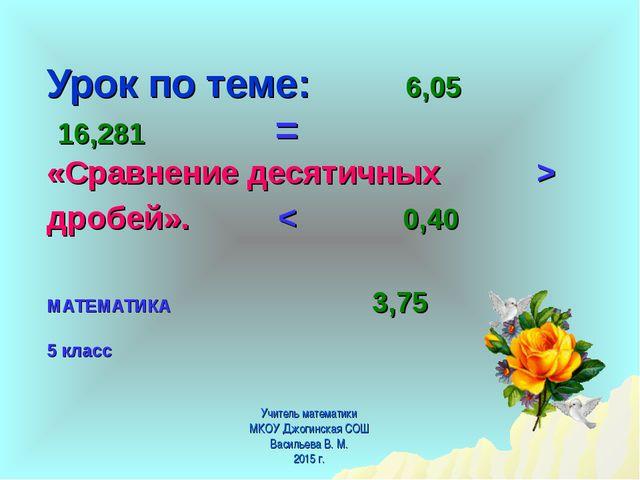 Урок по теме: 6,05 16,281 = «Сравнение десятичных > дробей». < 0,40 МАТЕМАТИ...
