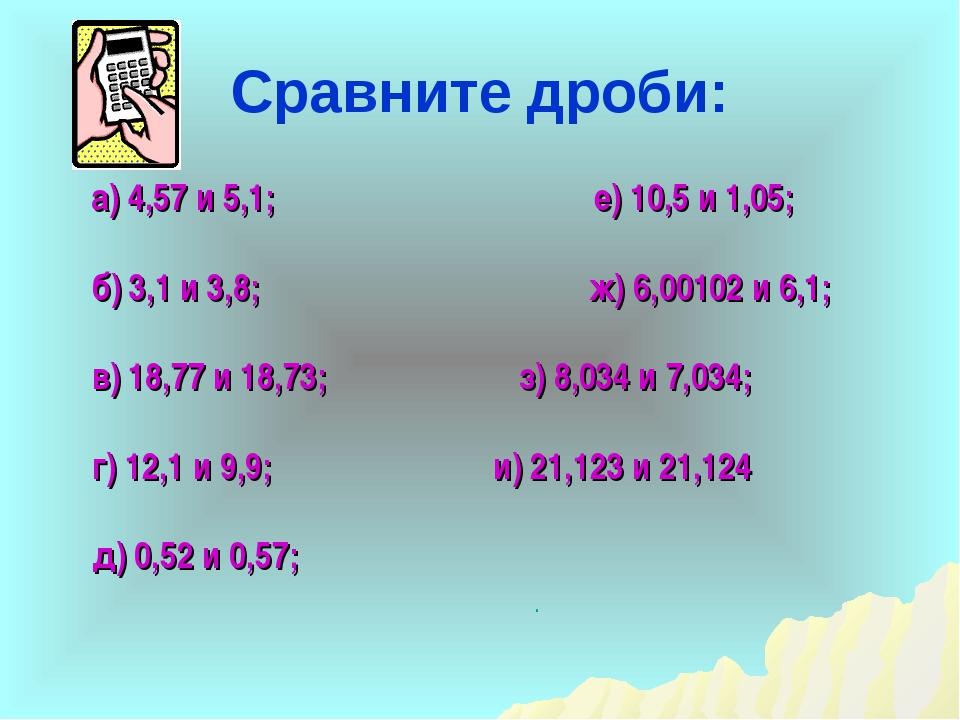 Сравните дроби: а) 4,57 и 5,1; б) 3,1 и 3,8; в) 18,77 и 18,73; г) 12,1 и 9,9;...