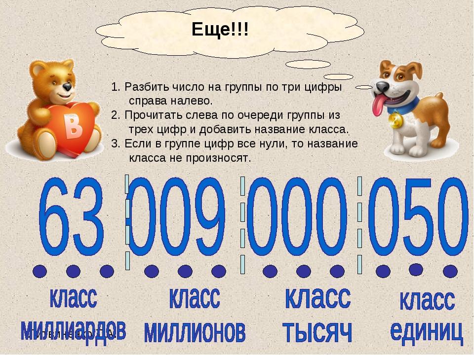 1. Разбить число на группы по три цифры справа налево. 2. Прочитать слева по...