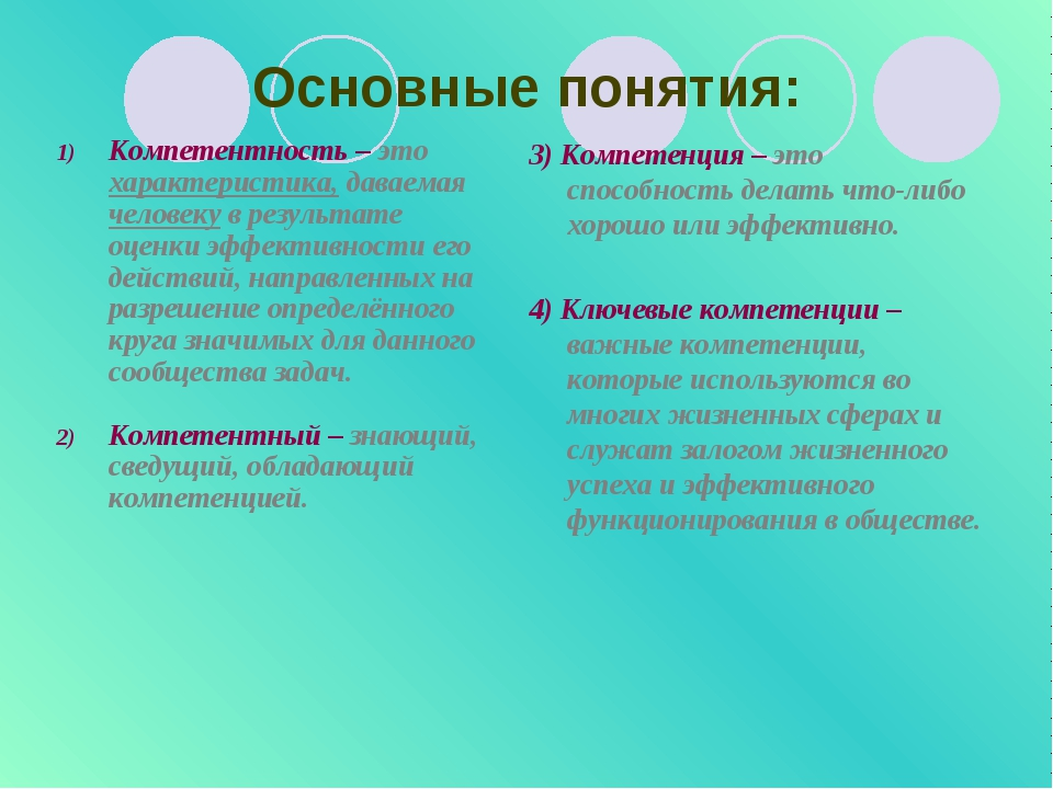 Основные понятия: Компетентность – это характеристика, даваемая человеку в ре...
