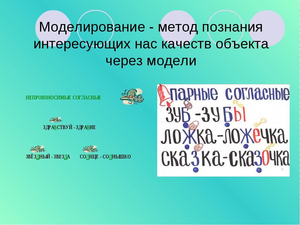 Моделирование - метод познания интересующих нас качеств объекта через модели