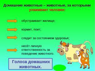 Голоса домашних животных. Домашние животные – животные, за которыми ухаживае