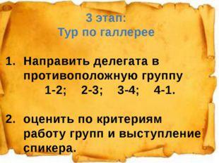 1. 3 этап: Тур по галлерее Направить делегата в противоположную группу 1-2; 2
