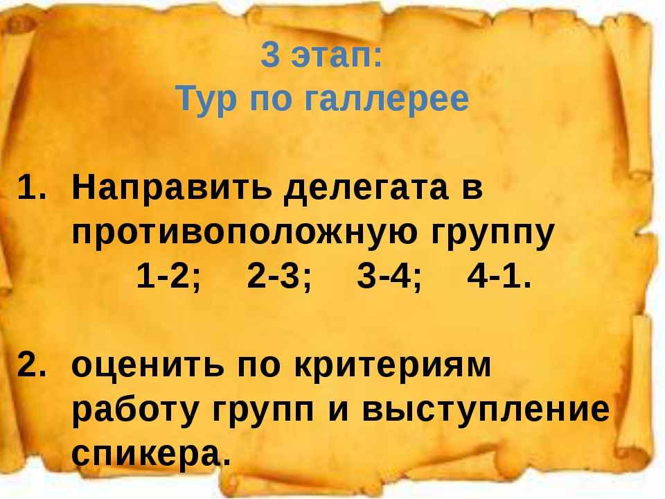 1. 3 этап: Тур по галлерее Направить делегата в противоположную группу 1-2; 2...